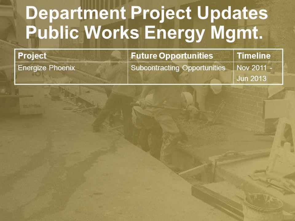 Public Works Energy Mgmt. ProjectFuture OpportunitiesTimeline Energize PhoenixSubcontracting OpportunitiesNov 2011 - Jun 2013 Department Project Updat