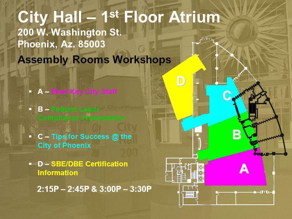 City Hall – 1 st Floor Atrium 200 W. Washington St. Phoenix, Az. 85003 A – Meet Key City Staff B – Federal Labor Compliance Presentation C – Tips for