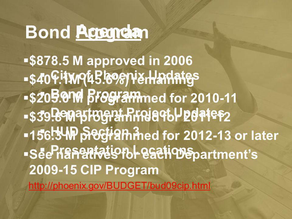 Bond Program Agenda City of Phoenix Updates Bond Program Department Project Updates HUD Section 3 Presentation Locations Bond Program $878.5 M approve