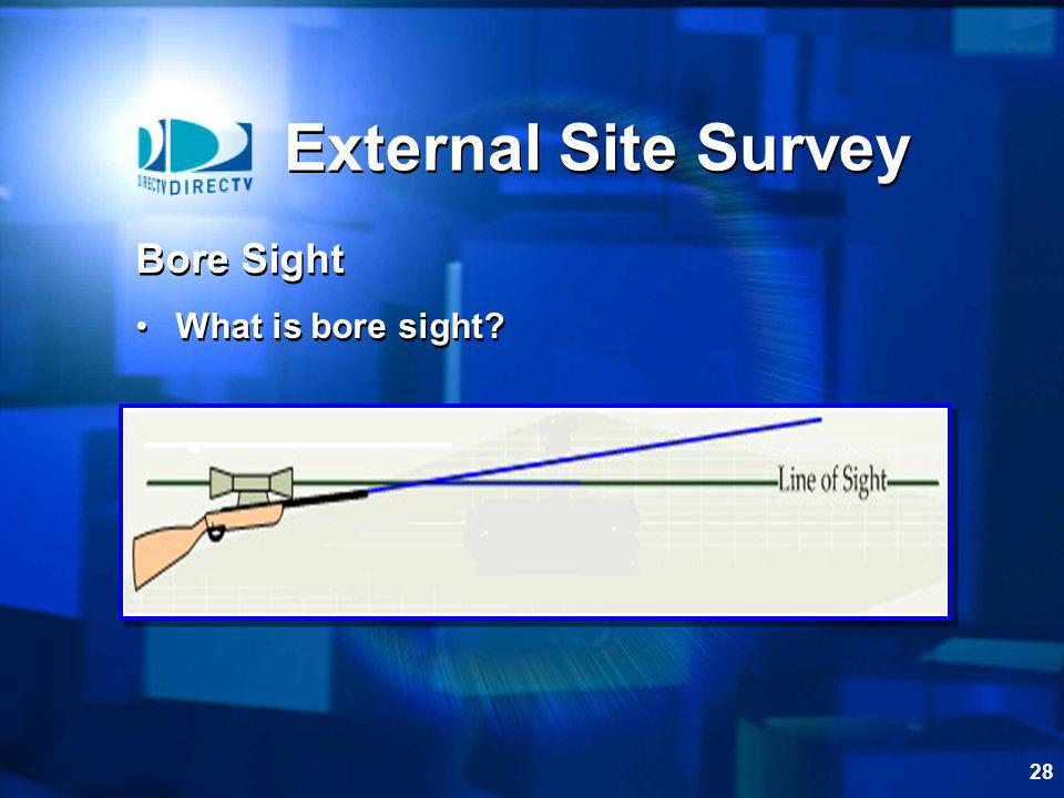 28 External Site Survey Bore Sight What is bore sight? Bore Sight What is bore sight?