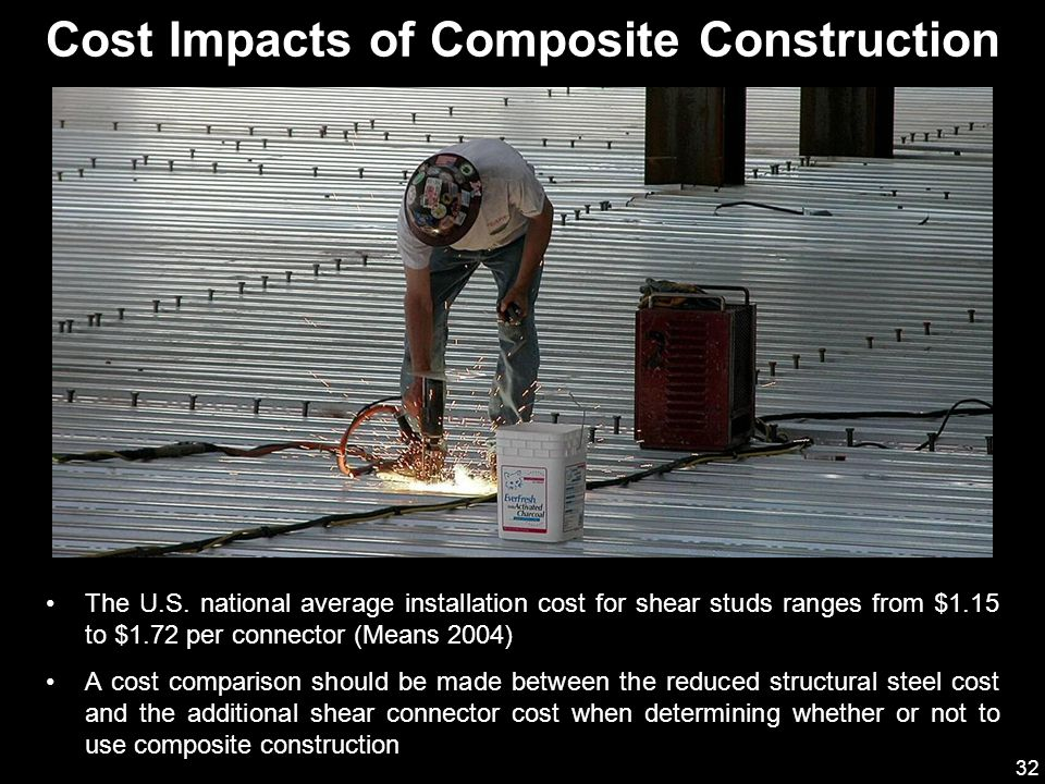 32 The U.S. national average installation cost for shear studs ranges from $1.15 to $1.72 per connector (Means 2004) A cost comparison should be made