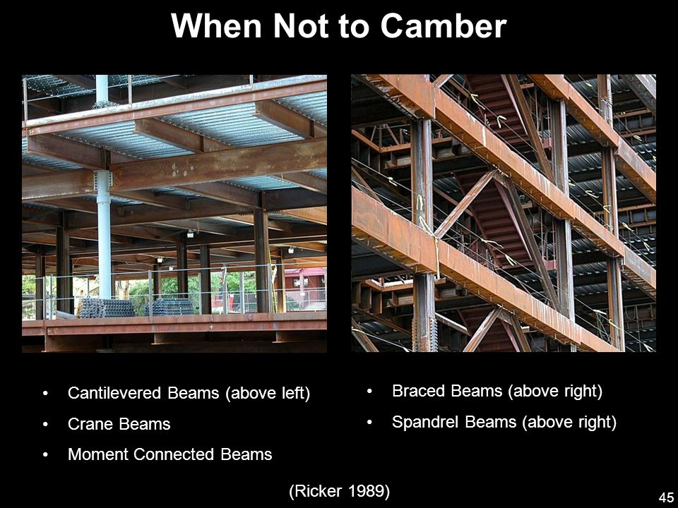45 Braced Beams (above right) Spandrel Beams (above right) Cantilevered Beams (above left) Crane Beams Moment Connected Beams When Not to Camber (Ricker 1989)