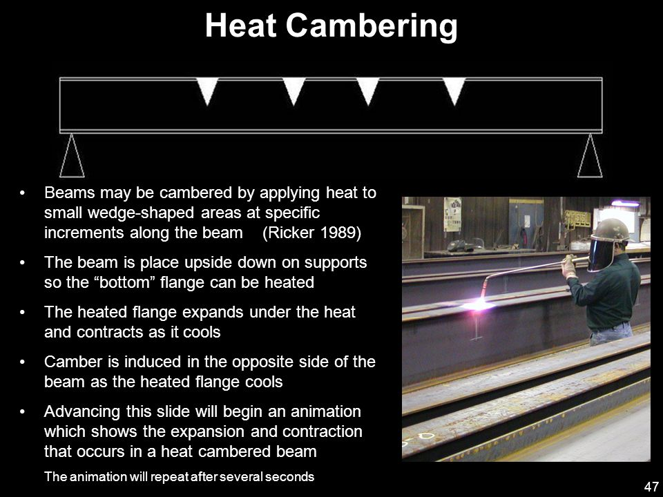 47 Beams may be cambered by applying heat to small wedge-shaped areas at specific increments along the beam (Ricker 1989) The beam is place upside down on supports so the bottom flange can be heated The heated flange expands under the heat and contracts as it cools Camber is induced in the opposite side of the beam as the heated flange cools Advancing this slide will begin an animation which shows the expansion and contraction that occurs in a heat cambered beam The animation will repeat after several seconds Heat Cambering Beam Support Heated Areas Top Side of Beam When Installed