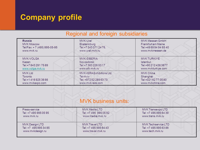Company profile Russia MVK Moscow Tel/Fax: + 7 (495) 995-05-95 www.mvk.ru MVK-Ural Ekaterinburg Tel:+7 343 371 24 76, www.ural.mvk.ru MVK Messen GmbH Frankfurt am Maine Tel:+49 69 94 94 65 40 www.mvkmessen.dе MVK-VOLGA Kazan Tel:+7 843 291 75 89 www.volga.mvk.ru MVK-SIBERIA Novosibirsk Tel:+7 383 226 53 17 www.sib.mvk.ru MVK TURKIYE Istanbul Tel:+90 212 438 3877 www.mvkturkiye.com MVK Ltd Toronto Tel:+1 416 925 36 66 www.mvkexpo.com MVK-ISRA Exhibitions Ltd.