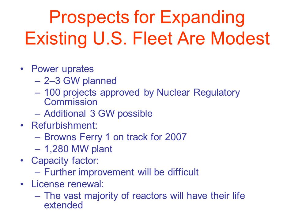 Prospects for Expanding Existing U.S. Fleet Are Modest Power uprates –2–3 GW planned –100 projects approved by Nuclear Regulatory Commission –Addition