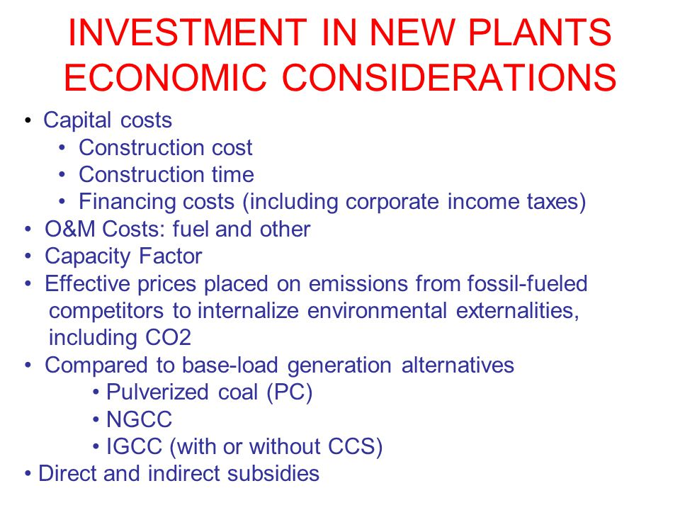 INVESTMENT IN NEW PLANTS ECONOMIC CONSIDERATIONS Capital costs Construction cost Construction time Financing costs (including corporate income taxes)