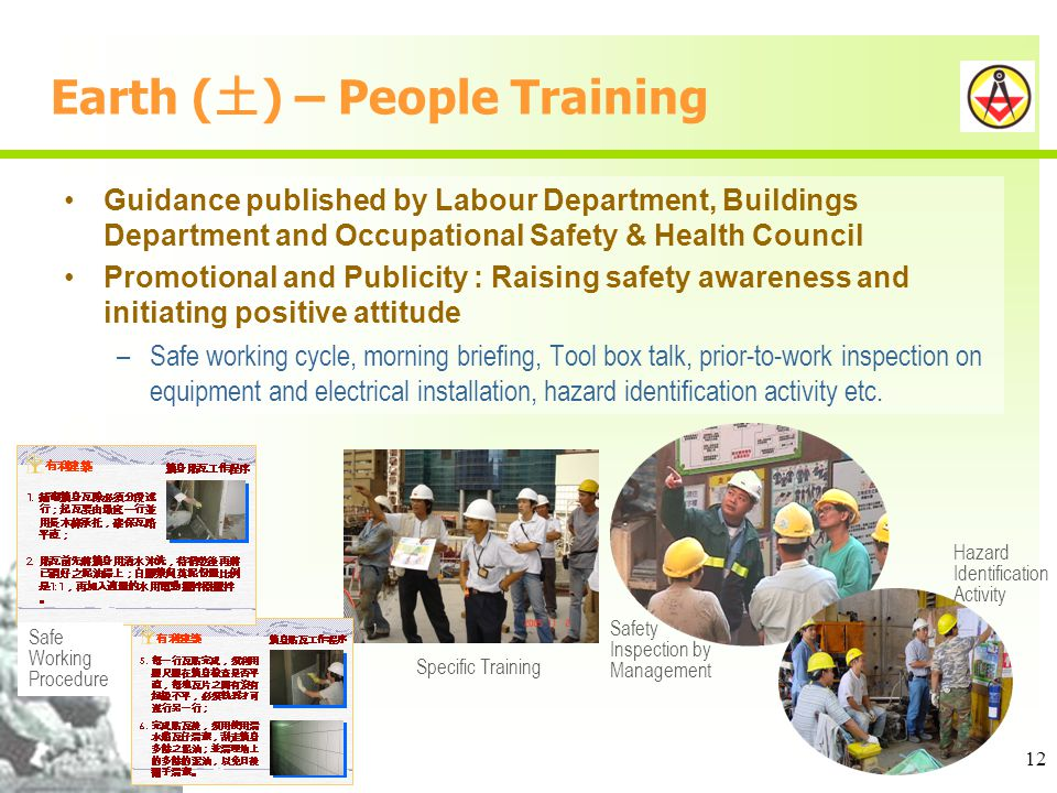 12 Earth ( ) – People Training Guidance published by Labour Department, Buildings Department and Occupational Safety & Health Council Promotional and Publicity : Raising safety awareness and initiating positive attitude –Safe working cycle, morning briefing, Tool box talk, prior-to-work inspection on equipment and electrical installation, hazard identification activity etc.
