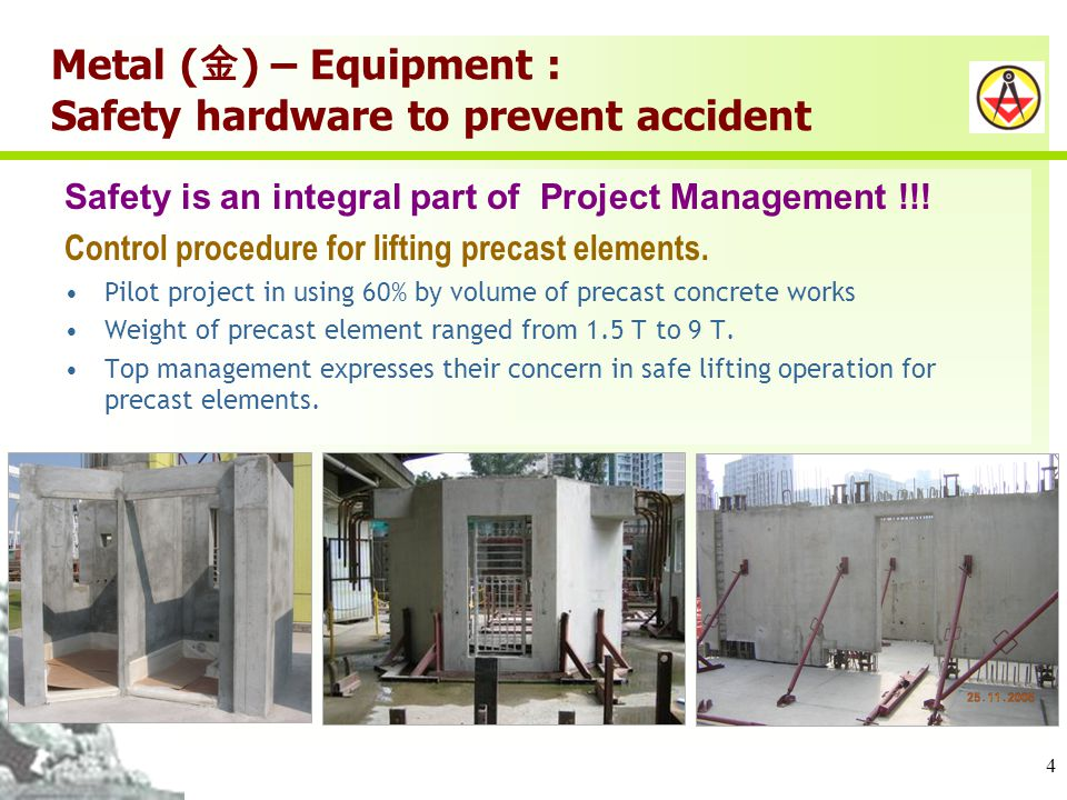 4 Metal ( ) – Equipment : Safety hardware to prevent accident Safety is an integral part of Project Management !!.