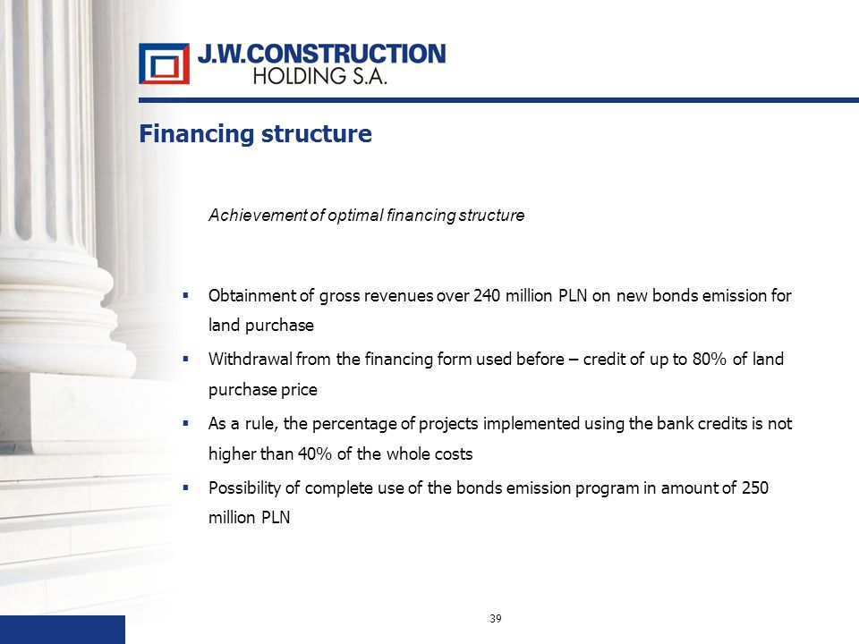 39 Financing structure Achievement of optimal financing structure Obtainment of gross revenues over 240 million PLN on new bonds emission for land purchase Withdrawal from the financing form used before – credit of up to 80% of land purchase price As a rule, the percentage of projects implemented using the bank credits is not higher than 40% of the whole costs Possibility of complete use of the bonds emission program in amount of 250 million PLN