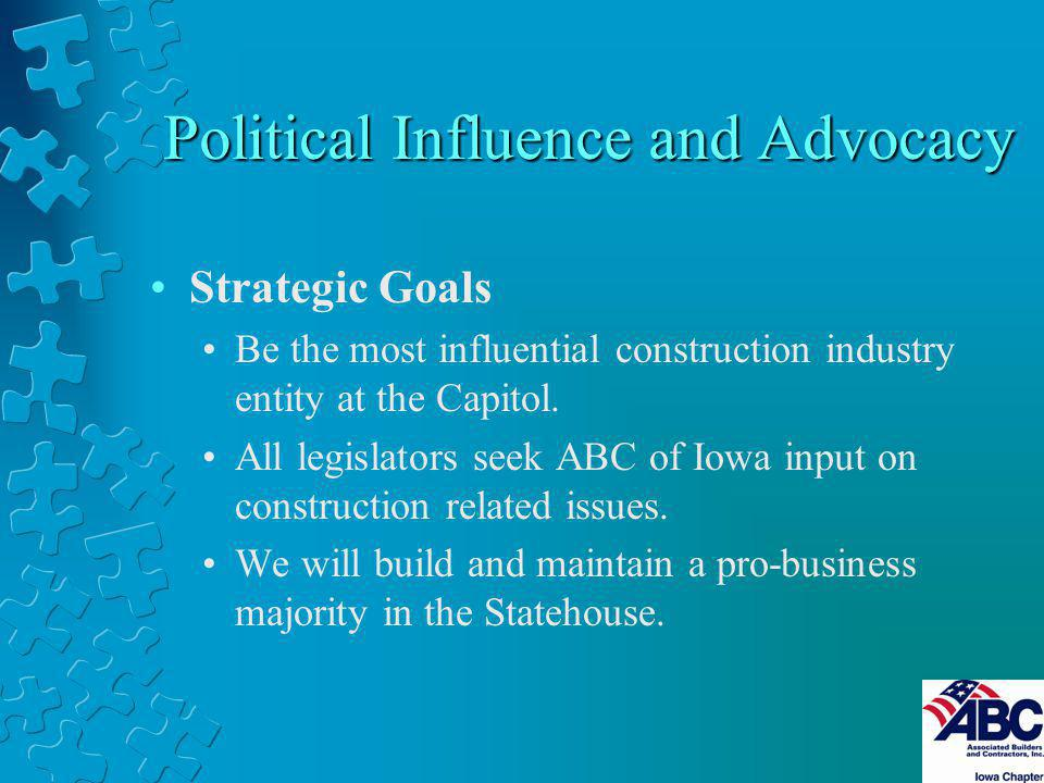 Political Influence and Advocacy Strategic Goals Be the most influential construction industry entity at the Capitol. All legislators seek ABC of Iowa