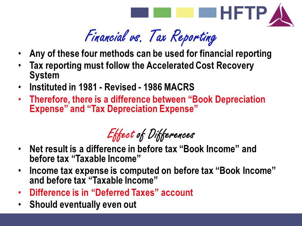 HFTP Financial vs. Tax Reporting Any of these four methods can be used for financial reporting Tax reporting must follow the Accelerated Cost Recovery