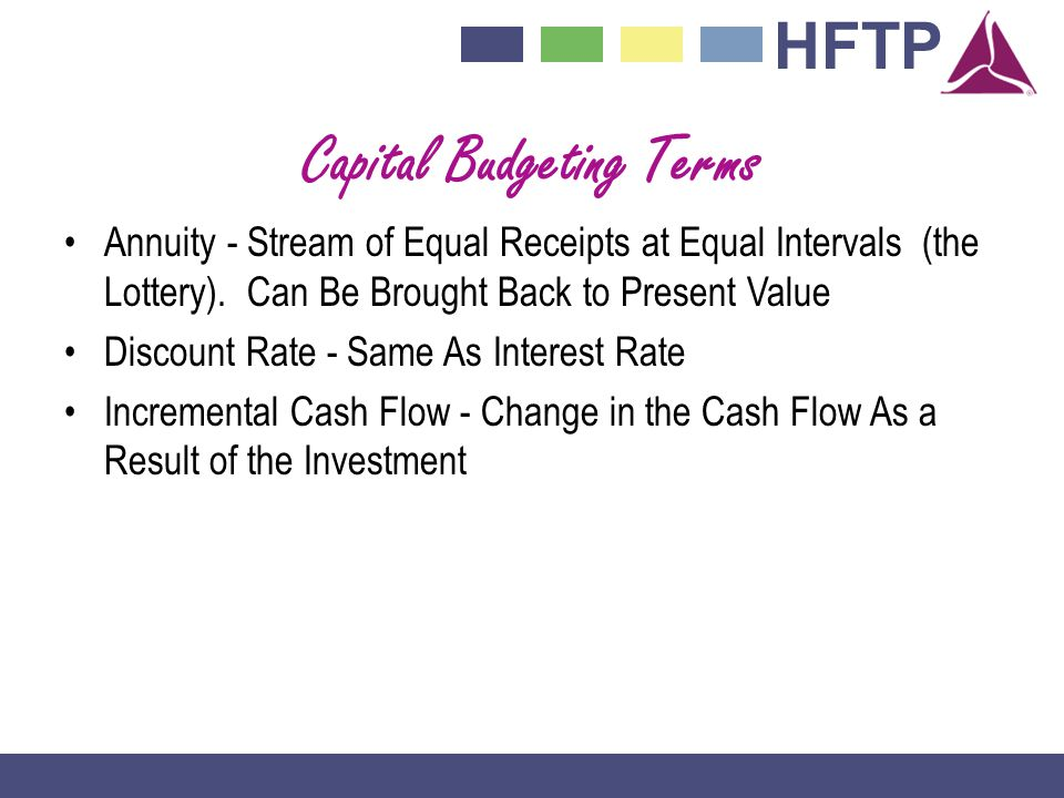 HFTP Capital Budgeting Terms Annuity - Stream of Equal Receipts at Equal Intervals (the Lottery).