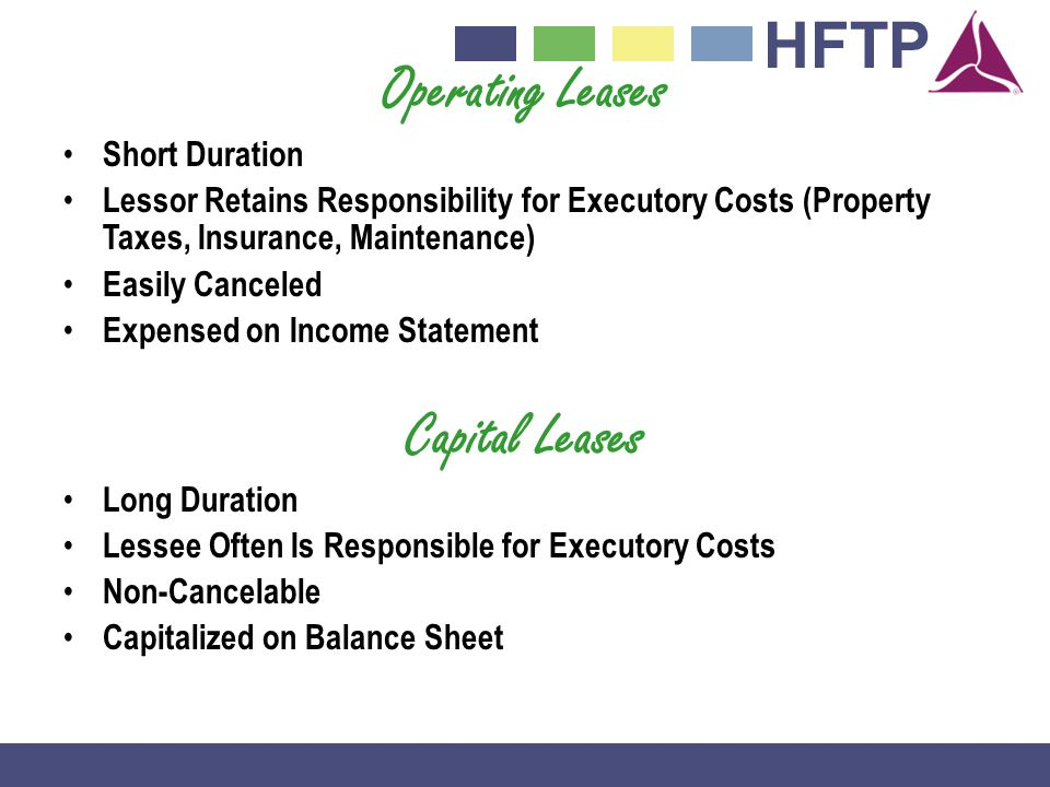 HFTP Operating Leases Short Duration Lessor Retains Responsibility for Executory Costs (Property Taxes, Insurance, Maintenance) Easily Canceled Expensed on Income Statement Capital Leases Long Duration Lessee Often Is Responsible for Executory Costs Non-Cancelable Capitalized on Balance Sheet