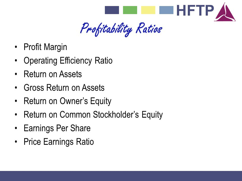 HFTP Profitability Ratios Profit Margin Operating Efficiency Ratio Return on Assets Gross Return on Assets Return on Owners Equity Return on Common Stockholders Equity Earnings Per Share Price Earnings Ratio