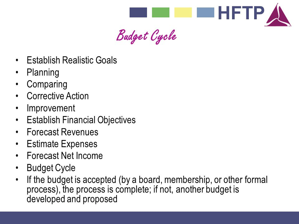 HFTP Budget Cycle Establish Realistic Goals Planning Comparing Corrective Action Improvement Establish Financial Objectives Forecast Revenues Estimate Expenses Forecast Net Income Budget Cycle If the budget is accepted (by a board, membership, or other formal process), the process is complete; if not, another budget is developed and proposed