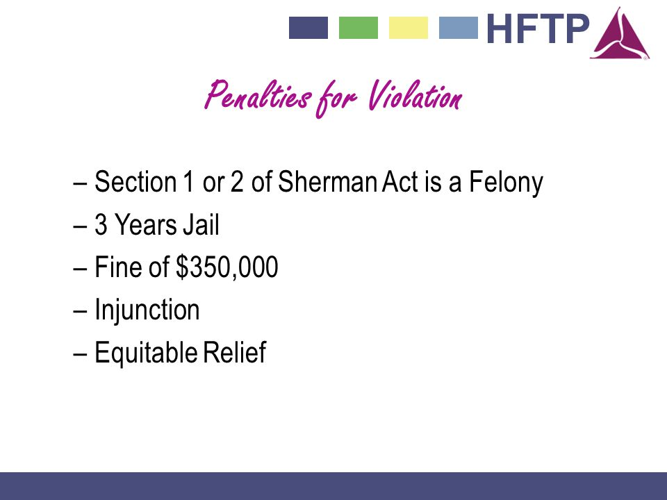 HFTP Penalties for Violation –Section 1 or 2 of Sherman Act is a Felony –3 Years Jail –Fine of $350,000 –Injunction –Equitable Relief