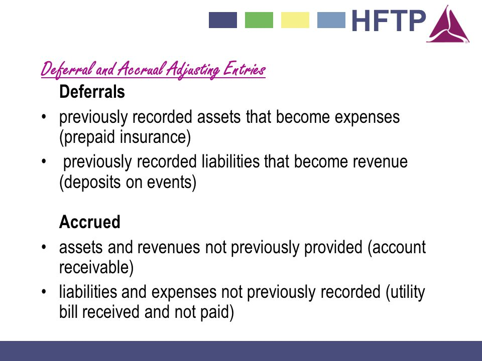 HFTP Deferral and Accrual Adjusting Entries Deferrals previously recorded assets that become expenses (prepaid insurance) previously recorded liabilities that become revenue (deposits on events) Accrued assets and revenues not previously provided (account receivable) liabilities and expenses not previously recorded (utility bill received and not paid)