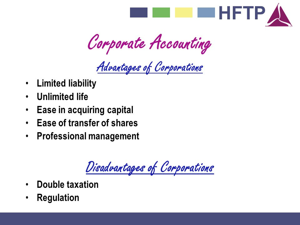 HFTP Corporate Accounting Advantages of Corporations Limited liability Unlimited life Ease in acquiring capital Ease of transfer of shares Professional management Disadvantages of Corporations Double taxation Regulation