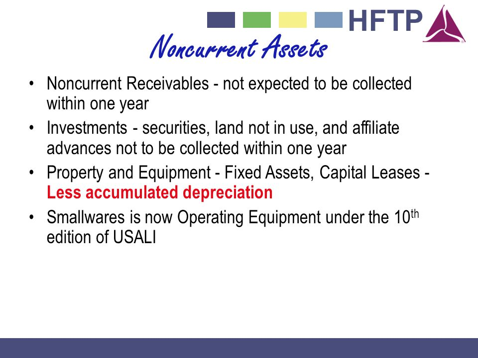 HFTP Noncurrent Assets Noncurrent Receivables - not expected to be collected within one year Investments - securities, land not in use, and affiliate advances not to be collected within one year Property and Equipment - Fixed Assets, Capital Leases - Less accumulated depreciation Smallwares is now Operating Equipment under the 10 th edition of USALI