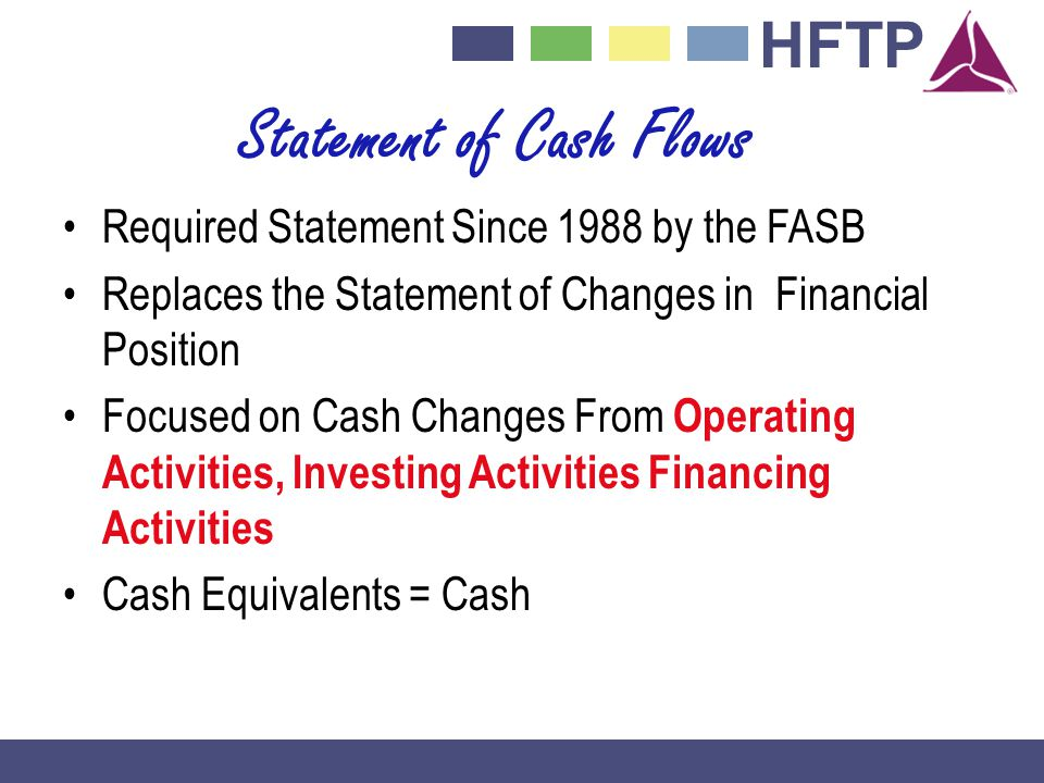 HFTP Statement of Cash Flows Required Statement Since 1988 by the FASB Replaces the Statement of Changes in Financial Position Focused on Cash Changes From Operating Activities, Investing Activities Financing Activities Cash Equivalents = Cash