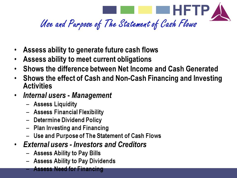 HFTP Use and Purpose of The Statement of Cash Flows Assess ability to generate future cash flows Assess ability to meet current obligations Shows the difference between Net Income and Cash Generated Shows the effect of Cash and Non-Cash Financing and Investing Activities Internal users - Management – Assess Liquidity – Assess Financial Flexibility – Determine Dividend Policy – Plan Investing and Financing – Use and Purpose of The Statement of Cash Flows External users - Investors and Creditors – Assess Ability to Pay Bills – Assess Ability to Pay Dividends – Assess Need for Financing