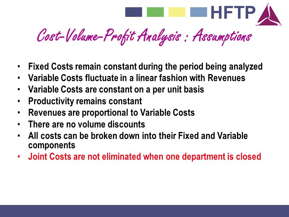 HFTP Cost-Volume-Profit Analysis : Assumptions Fixed Costs remain constant during the period being analyzed Variable Costs fluctuate in a linear fashion with Revenues Variable Costs are constant on a per unit basis Productivity remains constant Revenues are proportional to Variable Costs There are no volume discounts All costs can be broken down into their Fixed and Variable components Joint Costs are not eliminated when one department is closed