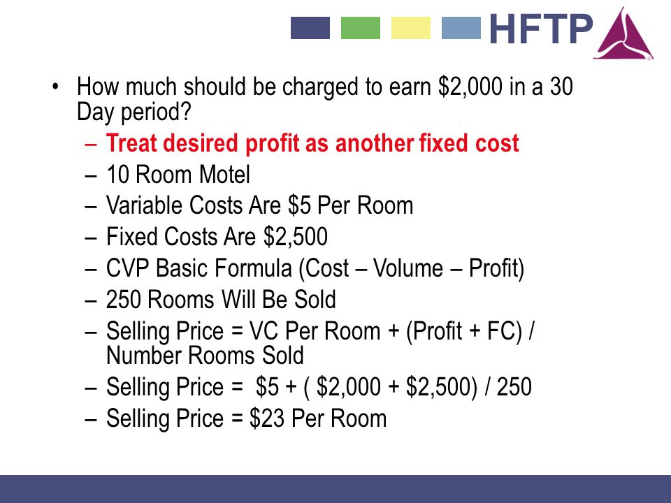 HFTP How much should be charged to earn $2,000 in a 30 Day period.