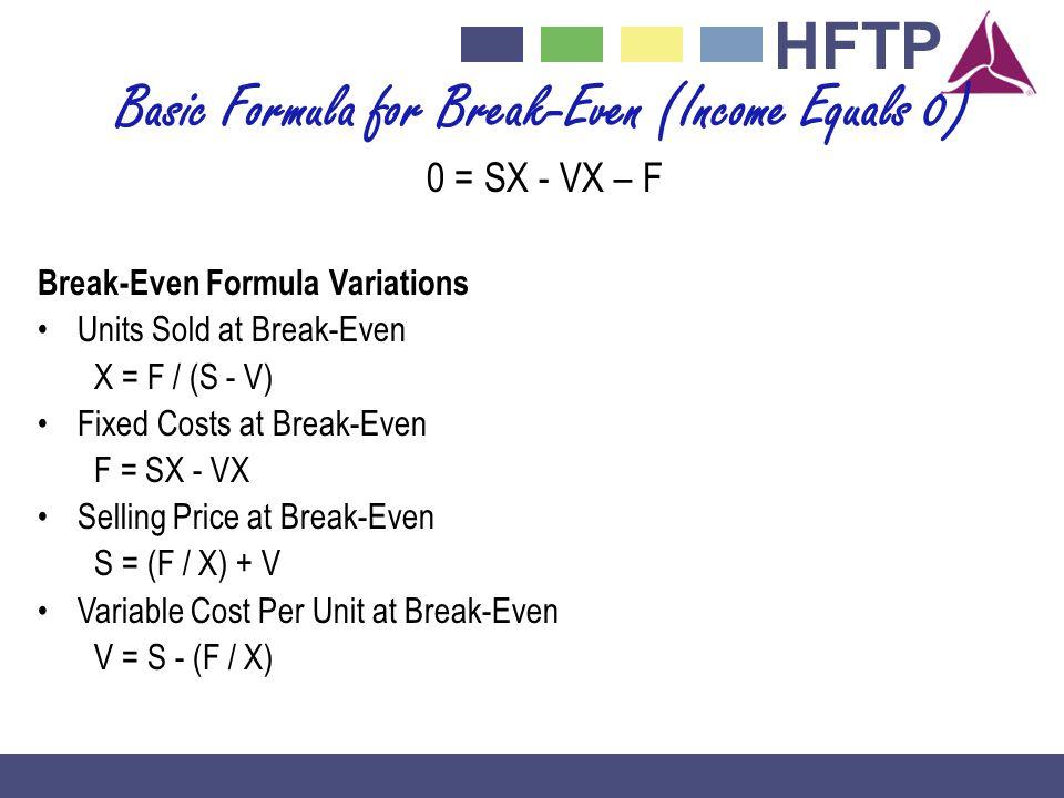 HFTP Basic Formula for Break-Even (Income Equals 0) 0 = SX - VX – F Break-Even Formula Variations Units Sold at Break-Even X = F / (S - V) Fixed Costs