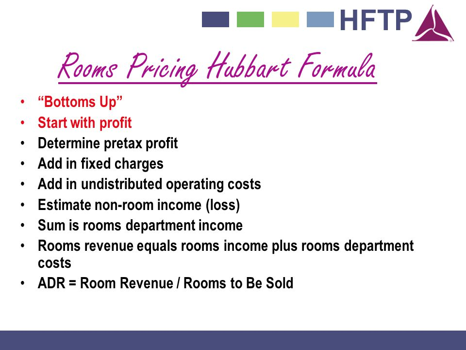 HFTP Rooms Pricing Hubbart Formula Bottoms Up Start with profit Determine pretax profit Add in fixed charges Add in undistributed operating costs Estimate non-room income (loss) Sum is rooms department income Rooms revenue equals rooms income plus rooms department costs ADR = Room Revenue / Rooms to Be Sold