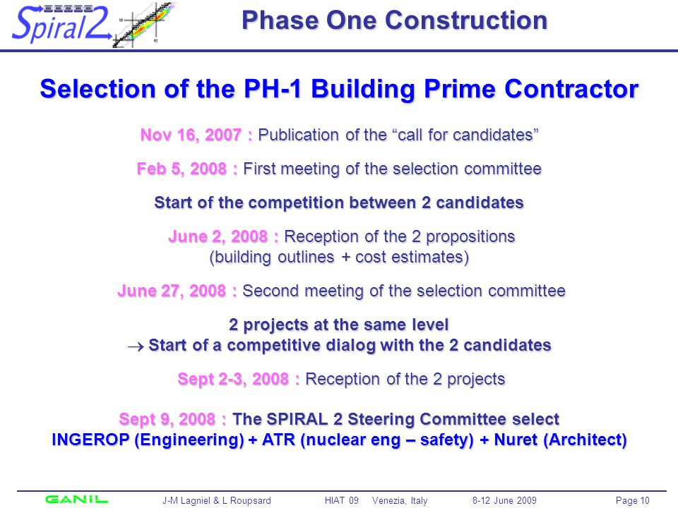 Page 10 J-M Lagniel & L Roupsard HIAT 09 Venezia, Italy 8-12 June 2009 Phase One Construction Selection of the PH-1 Building Prime Contractor Nov 16, 2007 : Publication of the call for candidates Feb 5, 2008 : First meeting of the selection committee Start of the competition between 2 candidates June 2, 2008 : Reception of the 2 propositions (building outlines + cost estimates) June 27, 2008 : Second meeting of the selection committee 2 projects at the same level Start of a competitive dialog with the 2 candidates Sept 2-3, 2008 : Reception of the 2 projects Sept 9, 2008 : The SPIRAL 2 Steering Committee select INGEROP (Engineering) + ATR (nuclear eng – safety) + Nuret (Architect)