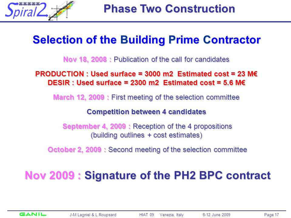 Page 17 J-M Lagniel & L Roupsard HIAT 09 Venezia, Italy 8-12 June 2009 Phase Two Construction Selection of the Building Prime Contractor Nov 18, 2008 : Publication of the call for candidates PRODUCTION : Used surface = 3000 m2 Estimated cost = 23 M DESIR : Used surface = 2300 m2 Estimated cost = 5.6 M March 12, 2009 : First meeting of the selection committee Competition between 4 candidates September 4, 2009 : Reception of the 4 propositions (building outlines + cost estimates) October 2, 2009 : Second meeting of the selection committee Nov 2009 : Signature of the PH2 BPC contract