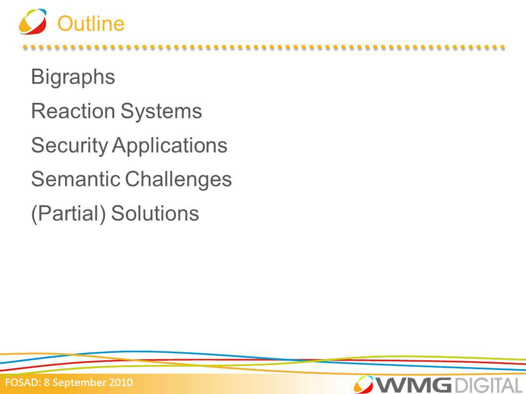 Outline Bigraphs Reaction Systems Security Applications Semantic Challenges (Partial) Solutions