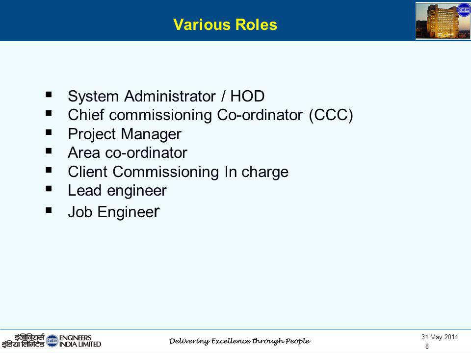 31 May 2014 8 System Administrator / HOD Chief commissioning Co-ordinator (CCC) Project Manager Area co-ordinator Client Commissioning In charge Lead