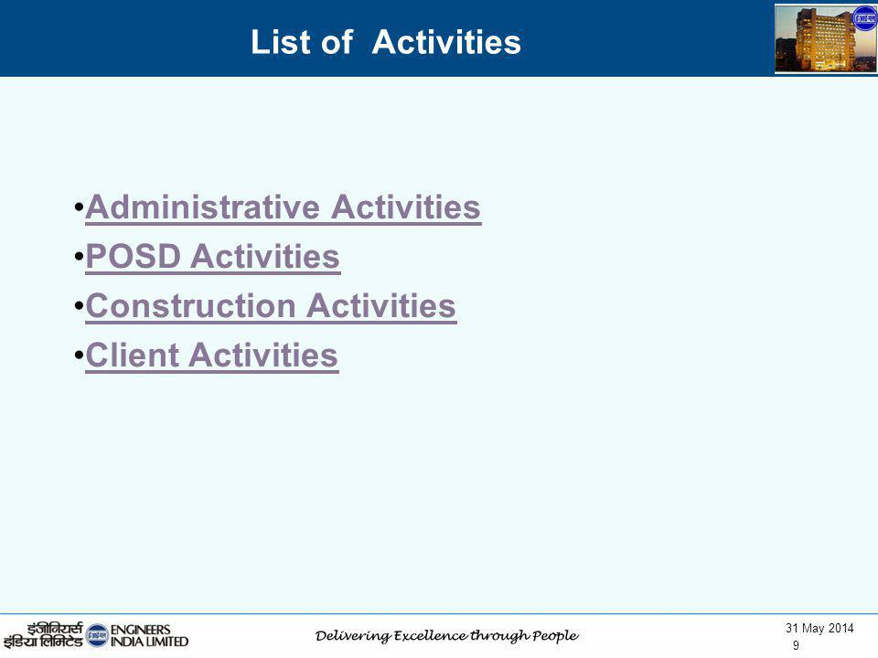 31 May 2014 9 List of Activities Administrative Activities POSD Activities Construction Activities Client Activities