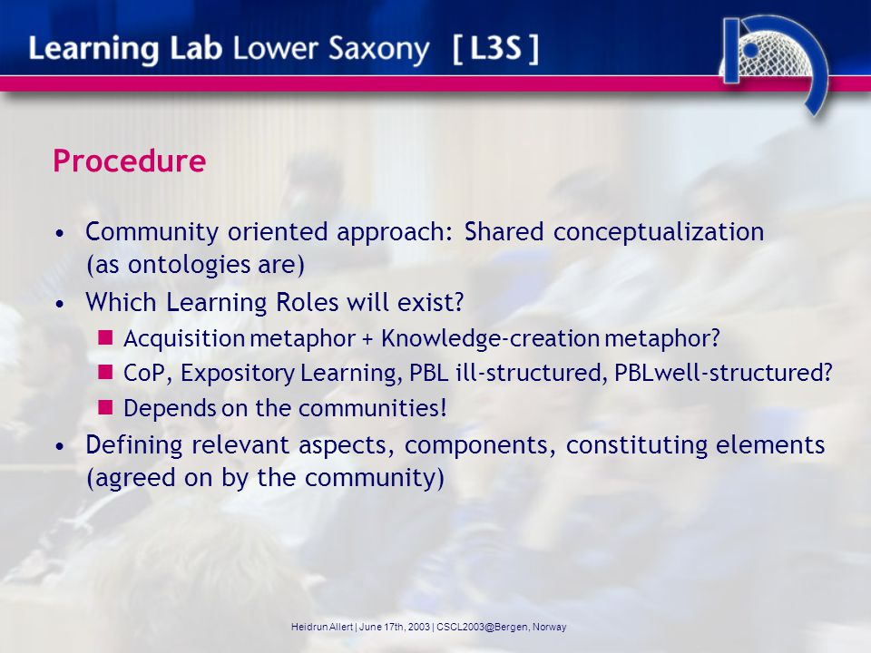 Procedure Community oriented approach: Shared conceptualization (as ontologies are) Which Learning Roles will exist.
