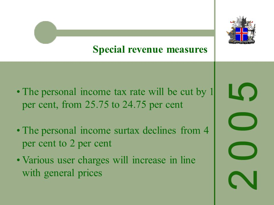 2 0 0 52 0 0 5 Special revenue measures The personal income tax rate will be cut by 1 per cent, from 25.75 to 24.75 per cent The personal income surtax declines from 4 per cent to 2 per cent Various user charges will increase in line with general prices