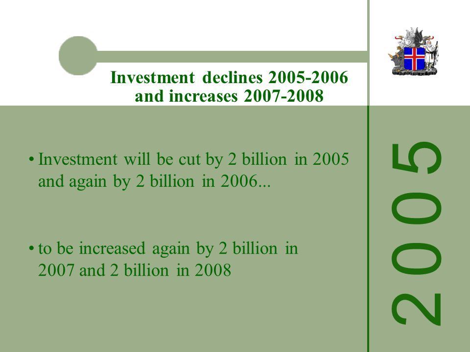 2 0 0 52 0 0 5 Investment declines 2005-2006 and increases 2007-2008 Investment will be cut by 2 billion in 2005 and again by 2 billion in 2006...