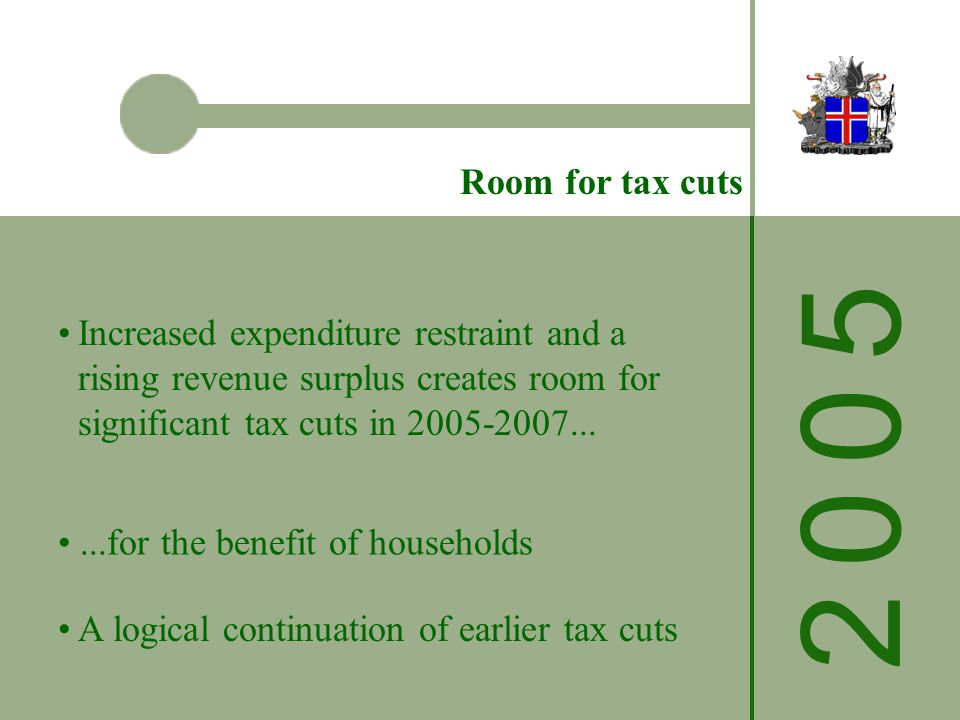 2 0 0 52 0 0 5 Room for tax cuts Increased expenditure restraint and a rising revenue surplus creates room for significant tax cuts in 2005-2007......for the benefit of households A logical continuation of earlier tax cuts