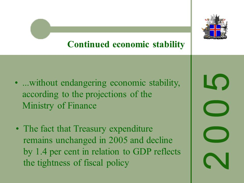 2 0 0 52 0 0 5 Continued economic stability...without endangering economic stability, according to the projections of the Ministry of Finance The fact