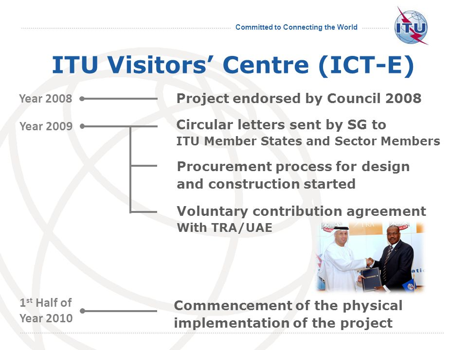 Committed to Connecting the World ITU Visitors Centre (ICT-E) INAUGURATION Expected to be open early 2011 EXHIBITIONS Venue : 2 nd Floor of Montbrillant Permanent exhibition - History of ICT, Todays trend, ITUs ongoing activities Temporary exhibition - Focus on cutting-edge technologies (Sponsoring exhibitors area)