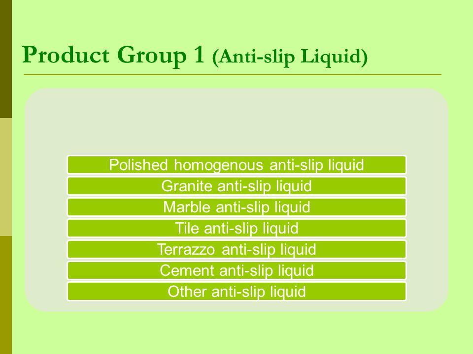 Product Group 1 (Anti-slip Liquid) Polished homogenous anti-slip liquidGranite anti-slip liquidMarble anti-slip liquidTile anti-slip liquidTerrazzo an