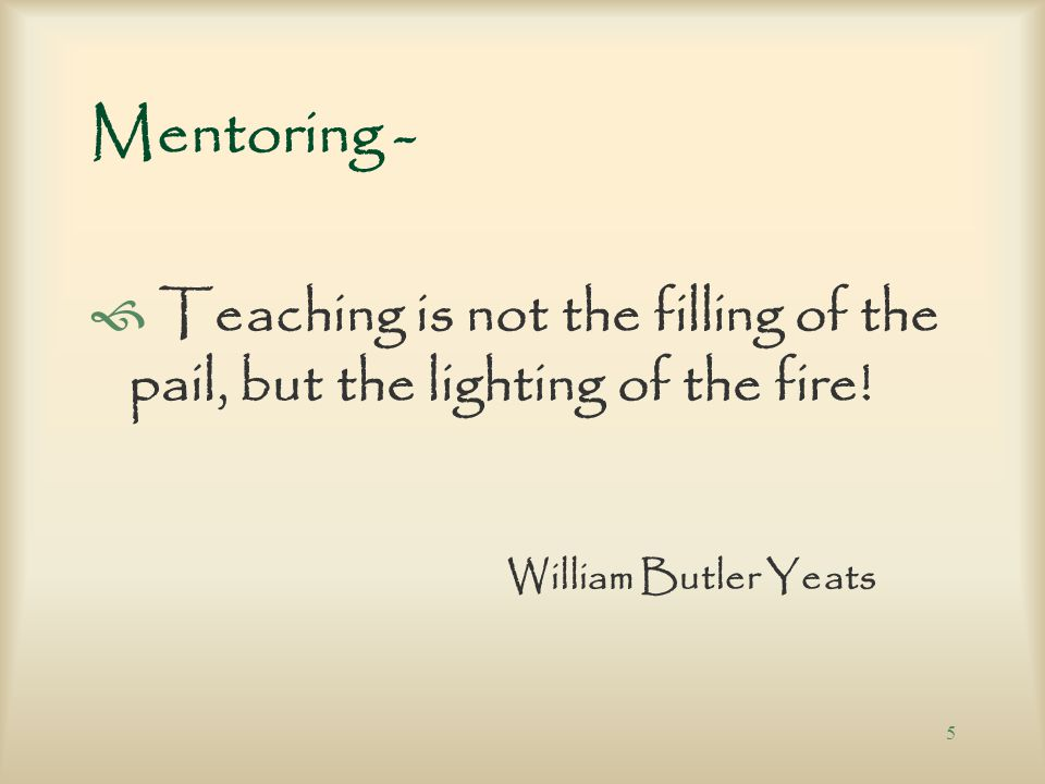 4 Mentoring the mentor: Ò Each participant attends monthly teleconferences (1 hour in duration, 4 th Thursday of month) creating a round table discuss