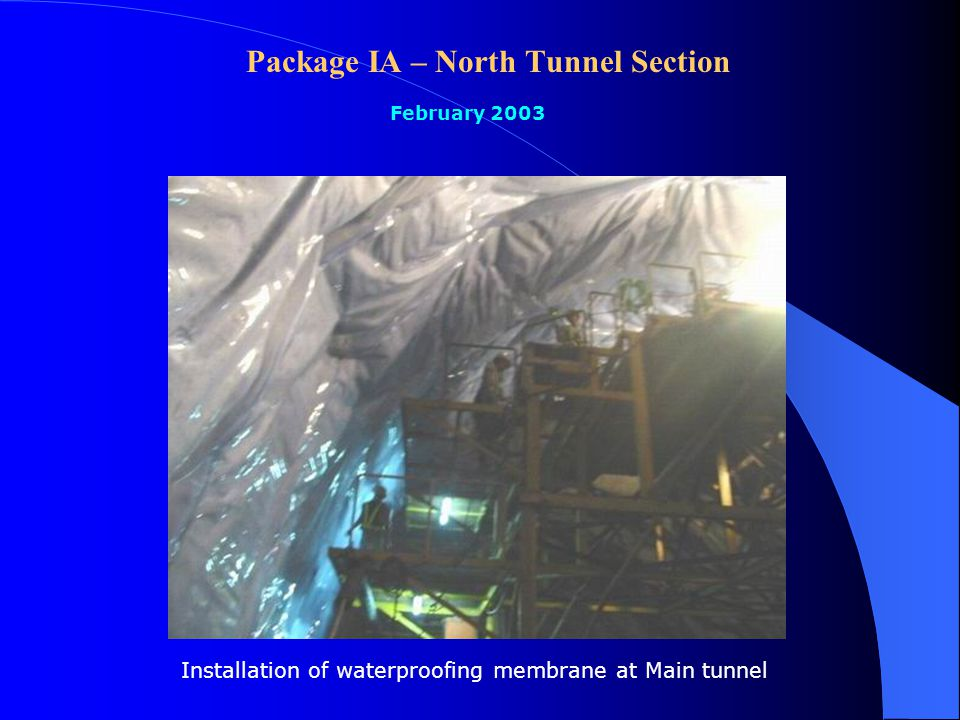 Package IA – North Tunnel Section February 2003 Explosive charging at main tunnel