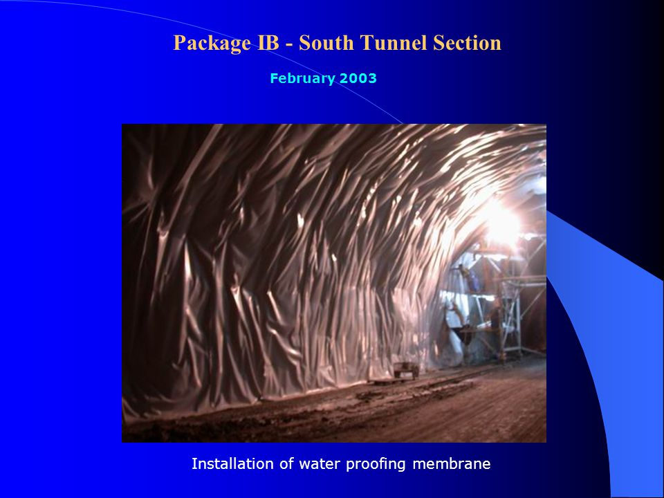Package IB - South Tunnel Section February 2003 Shotcrete for finishing between concrete lining