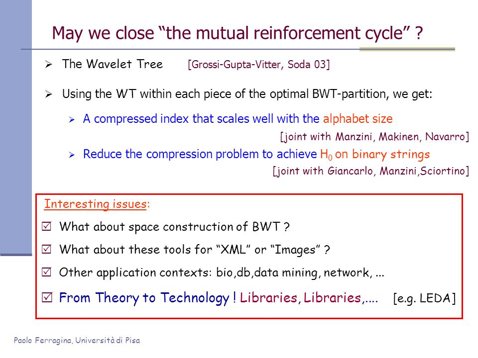 Paolo Ferragina, Università di Pisa May we close the mutual reinforcement cycle ? The Wavelet Tree [Grossi-Gupta-Vitter, Soda 03] Using the WT within