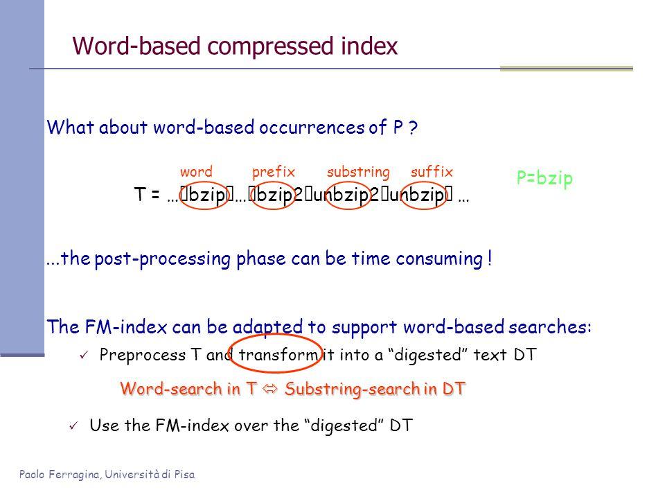 Paolo Ferragina, Università di Pisa Word-based compressed index T = …bzip…bzip2unbzip2unbzip … What about word-based occurrences of P ? The FM-i