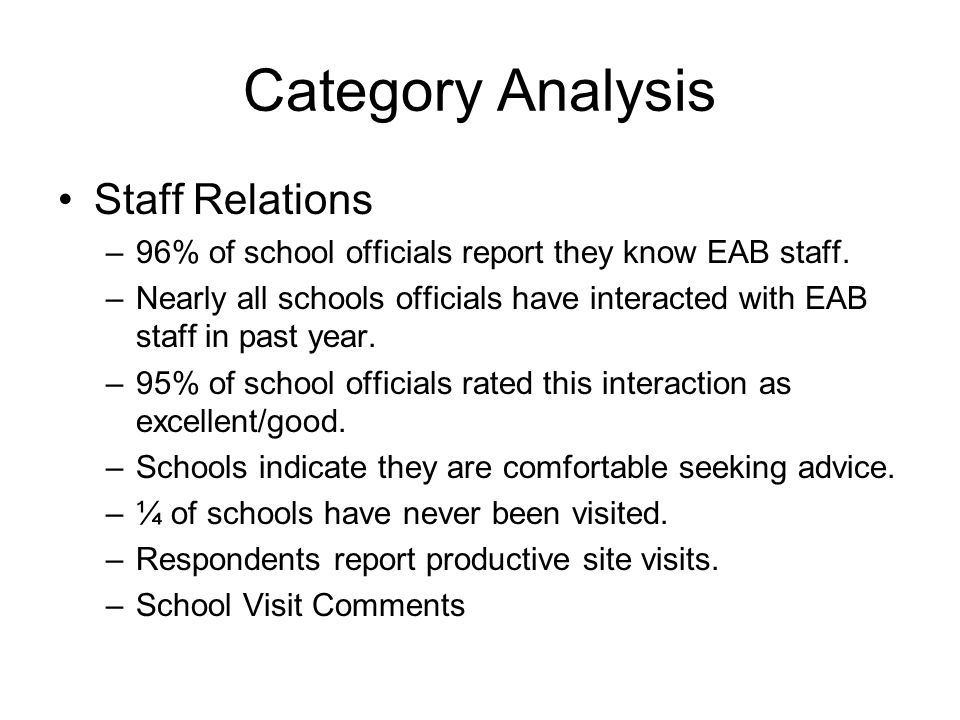 Category Analysis Approval Process –School and Program Approval Guide Expectations Understandable Construction –Annual Renewal Process Clarity of instructions Staff Helpfulness Time to complete process Electronic Renewal –Suggestions for Improvement