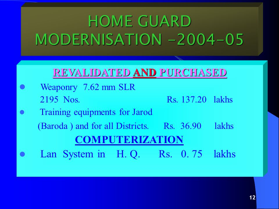 11 HOME GUARD MODERNISATION -2004-05 CONSTRUCTION CONSTRUCTION Regional Training Centre (Madhav Nagar ) Ta.
