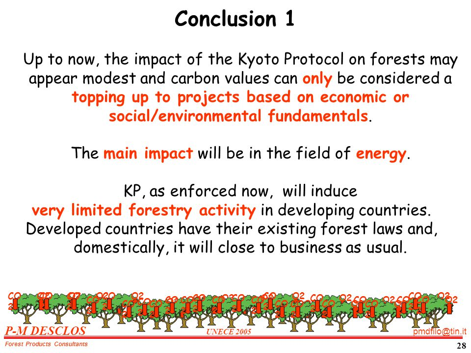 P-M DESCLOS UNECE 2005 pmdfilo@tin.it Forest Products Consultants 28 Conclusion 1 Up to now, the impact of the Kyoto Protocol on forests may appear modest and carbon values can only be considered a topping up to projects based on economic or social/environmental fundamentals.