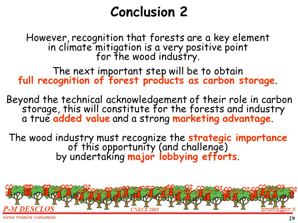 P-M DESCLOS UNECE 2005 pmdfilo@tin.it Forest Products Consultants 29 Conclusion 2 However, recognition that forests are a key element in climate mitigation is a very positive point for the wood industry.